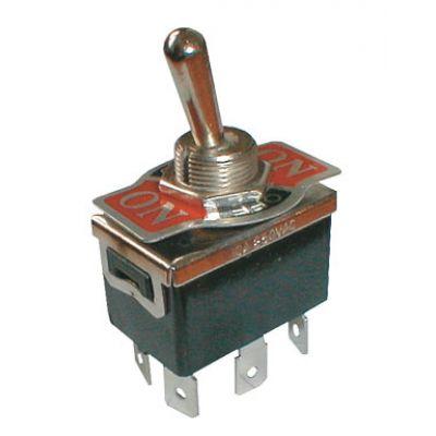 Prepínač páčkový 3pol./6pin ON-OFF-ON 250V/10A