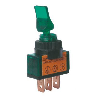 Prepínač páčkový 2pol./3pin ON-OFF 12VDC prosv. zelený