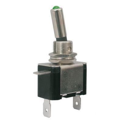 Prepínač páčkový 2pol./2pin ON-OFF 12VDC/25A LED zelená