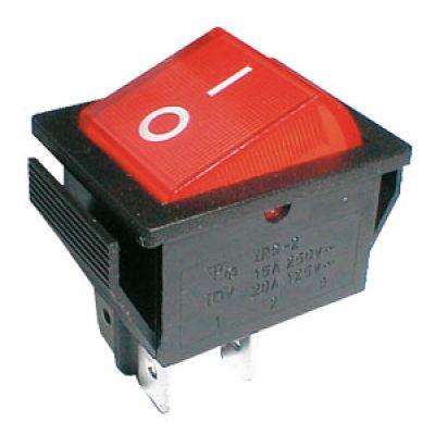 Prepínač kolískový 2pol./4pin ON-OFF 250V/15A pros. červený