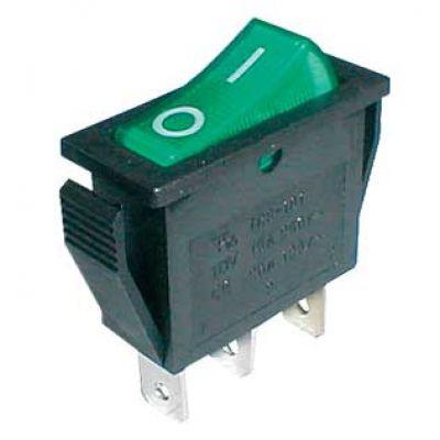 Prepínač kolískový 2pol./3pin ON-OFF 250V/15A pros. zelený