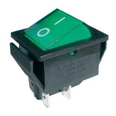 Prepínač kolískový 2pol./4pin ON-OFF 250V/15A pros. zelený