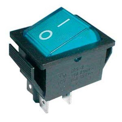 Prepínač kolískový 2pol./4pin ON-OFF 250V/15A pros. modrý