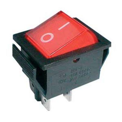 Prepínač kolískový 2pol./4pin ON-OFF 250V/15A červený
