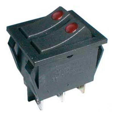 Prepínač kolískový 2x(2pol./3pin) ON-OFF 250V/15A pros. bod R