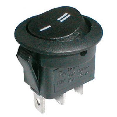 Prepínač kolískový okrúhly 2pol./3pin ON-ON 250V/6A čierny