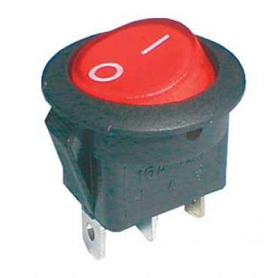 Prepínač kolískový okrúhly pros. 2pol./3pin ON-OFF 16A/12VDC červený