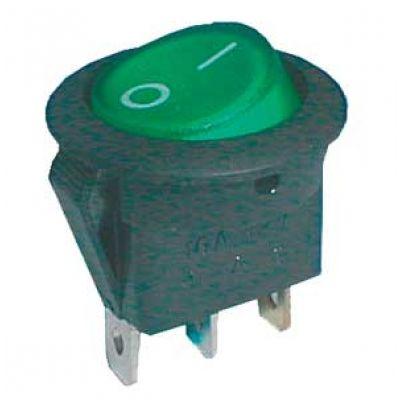 Prepínač kolískový okrúhly pros. 2pol./3pin ON-OFF 16A/12VDC zelený