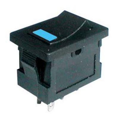 Prepínač kolískový 2pol./4pin ON-OFF 250V/3A LED modrý