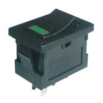 Prepínač kolískový 2pol./4pin ON-OFF 250V/3A LED zelený